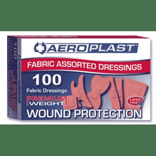 Aeroplast Fabric Assorted Shape Plasters – Box of 100