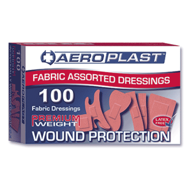 Aeroplast Fabric Assorted Shape Plasters – Box of 100