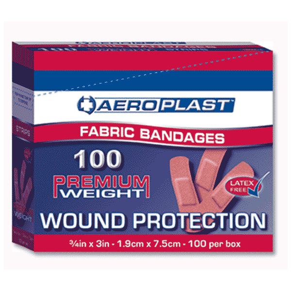 Aeroplast Fabric Plasters – Box of 100 (75mm x 19mm)