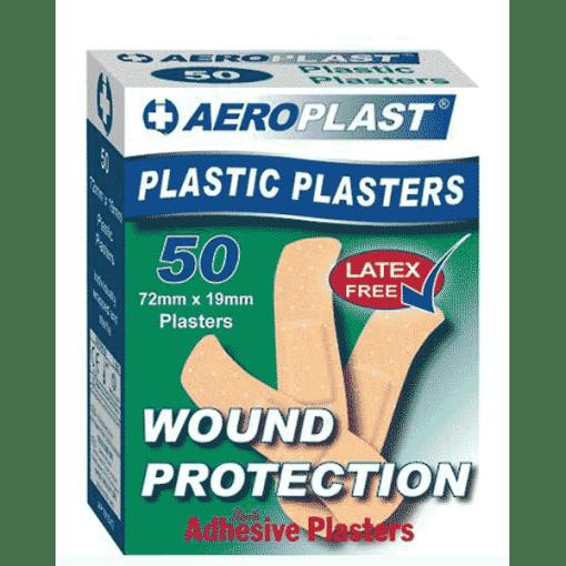 Aeroplast Plastic Plasters – Box of 50 (72mm x 19mm)