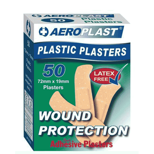 Aeroplast Plastic Plasters – Box of 50 (72mm x 19mm)