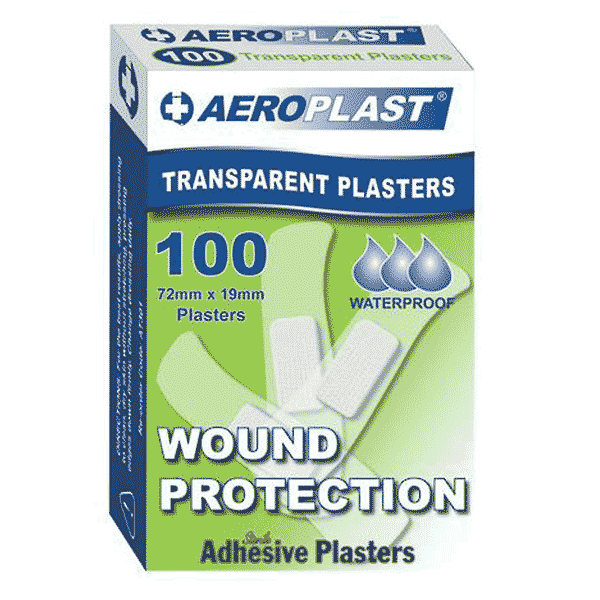 Aeroplast Transparent Plasters – Box of 100 (Extra Wide 25mm x 75mm)