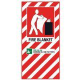 Fire Blanket Blazon Sign Large - 600 x 300mm