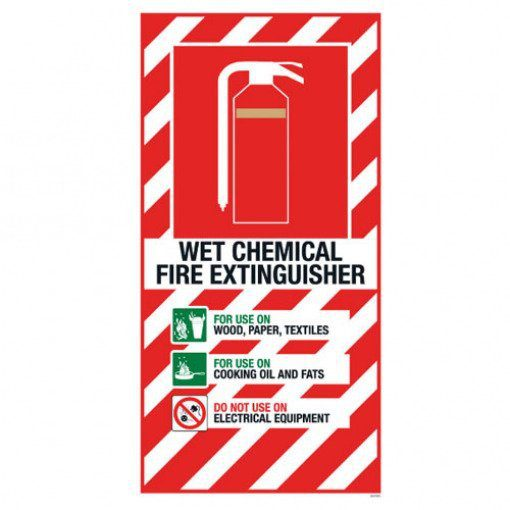 Wet Chemical Extinguisher Blazon Sign Small - 210 x 410mm
